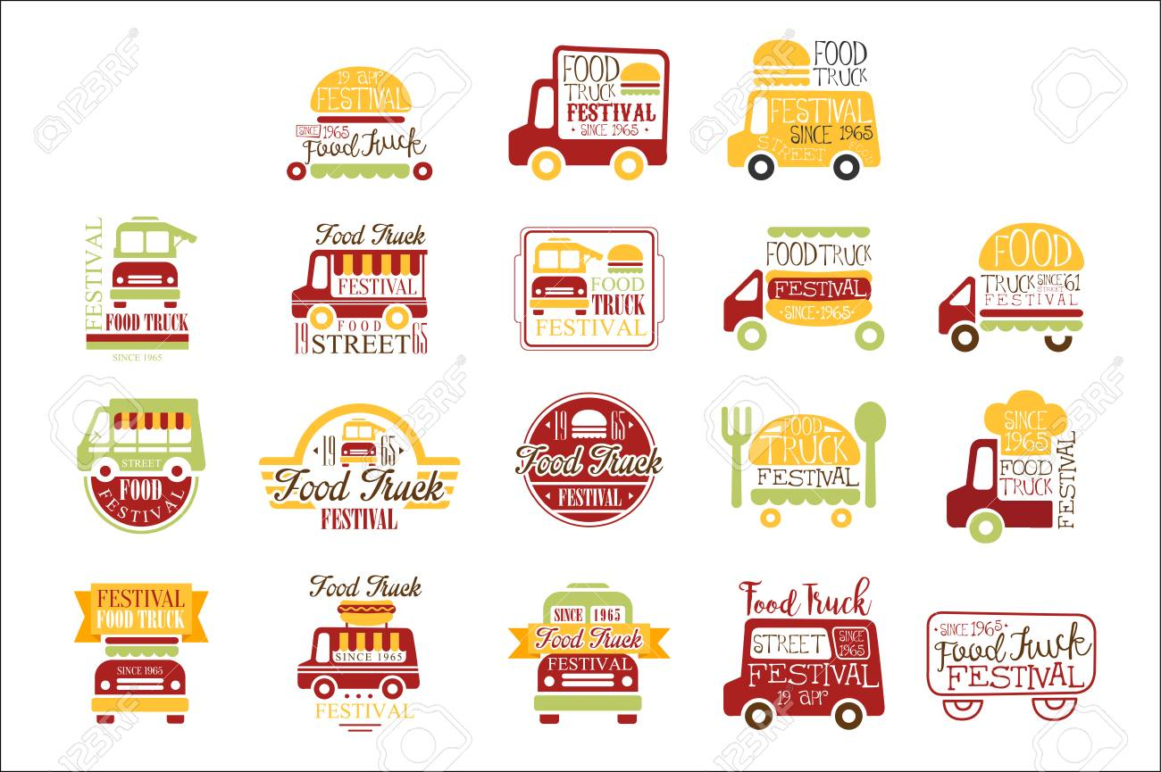 Food Truck Cafe Street Food Promo Signs Collection Of Colorful