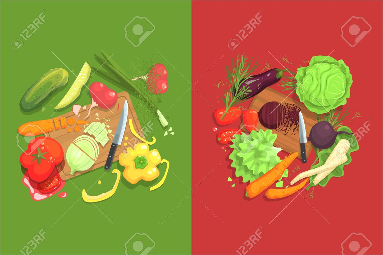 Still Life With Cooking Ingredients For Fresh Vegetarian Salad With Raw And Fresh Vegetables Places Around Cutting Board Illustration. Beetroot, Cabbage, Carrot, Eggplant And Other Products Of Healthy Vegan Diet. - 111890014