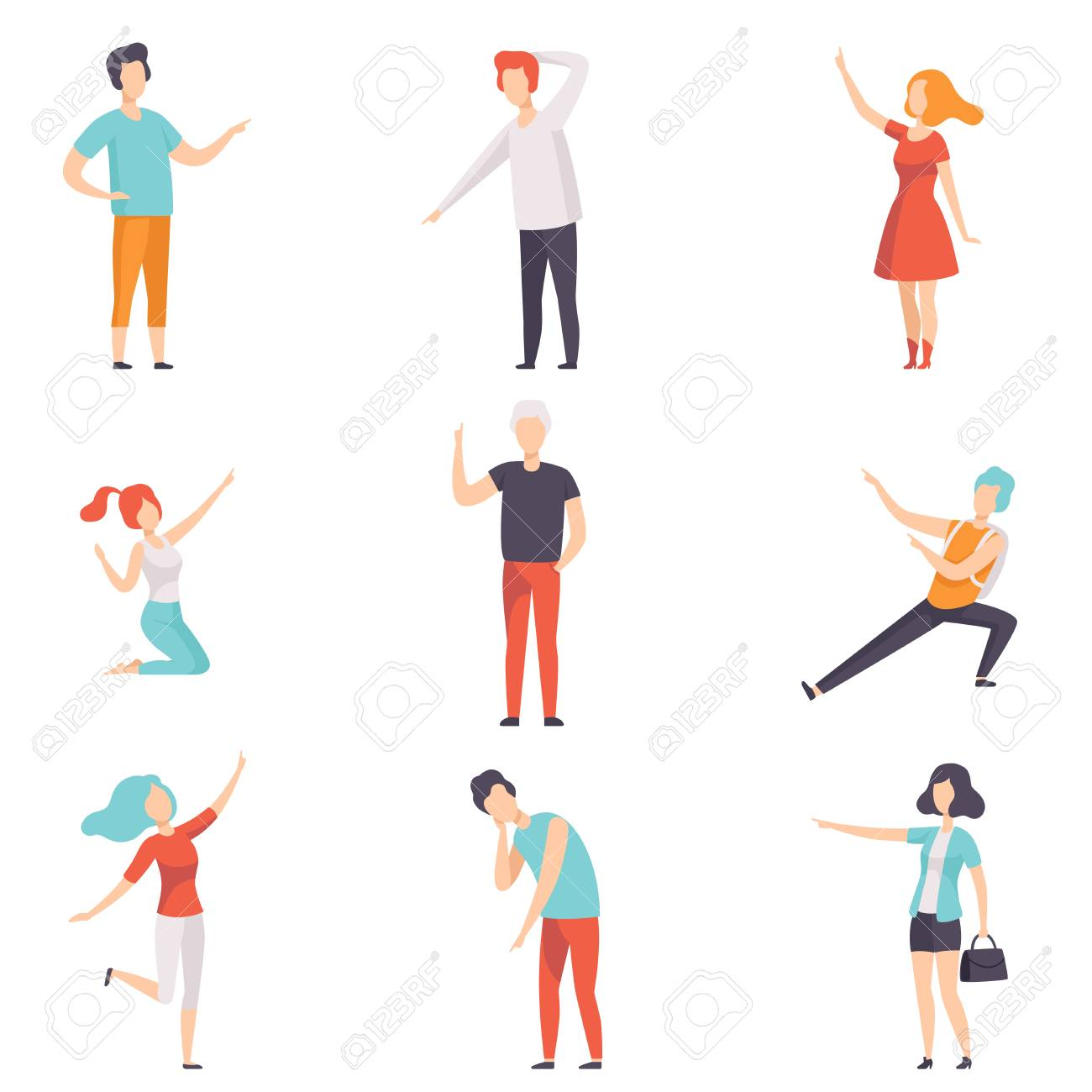 People pointing their finger in different directions set, faceless men and women characters gesturing vector Illustrations isolated on a white background. - 111776030