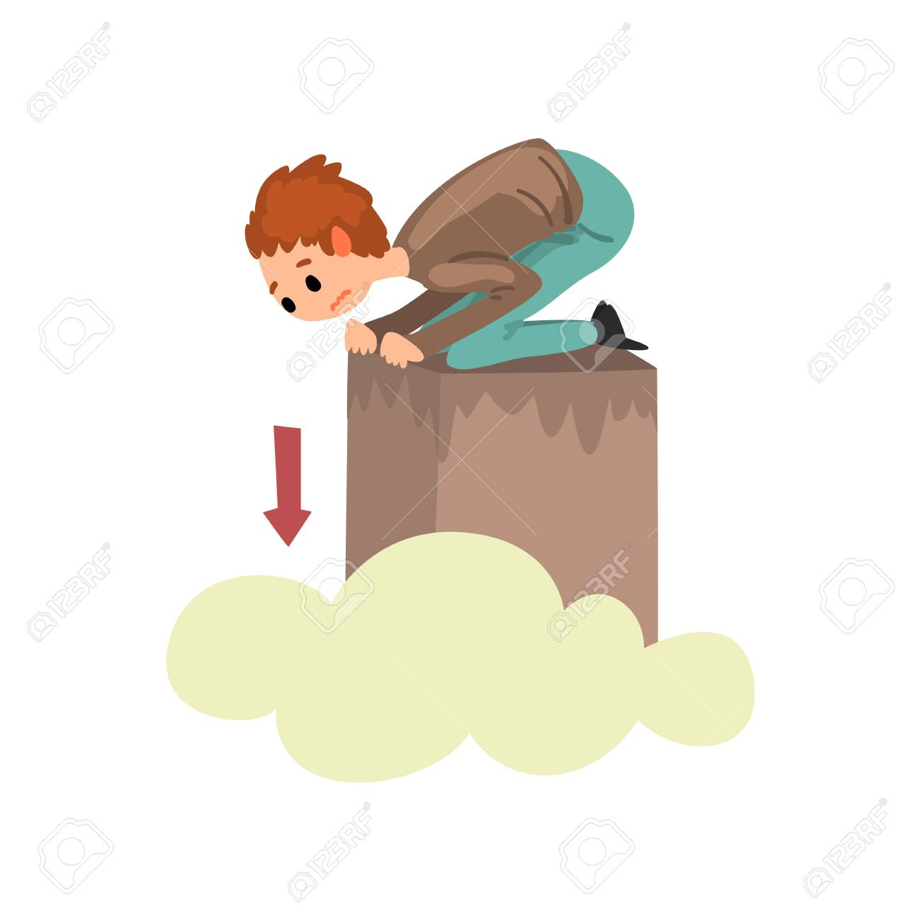 Man suffering from acrophobia, guy feeling fear of heights, human fear concept vector Illustration isolated on a white background. - 111720240