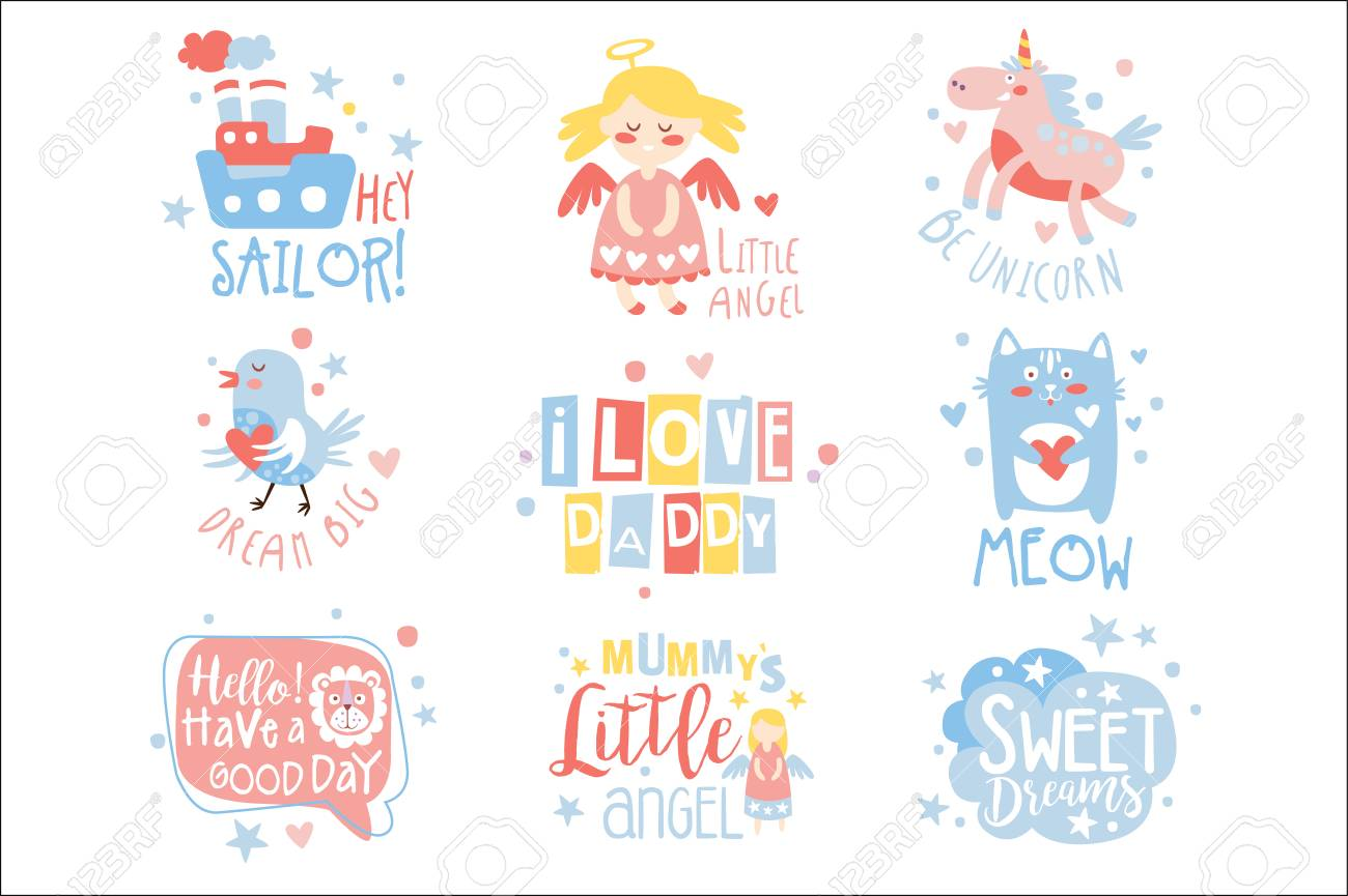 Baby Nursery Room Print Design Templates Set In Cute Girly Manner With Text Messages. Vector Labels With Quotes Series Of Childish Posters For Toddler. - 111694156