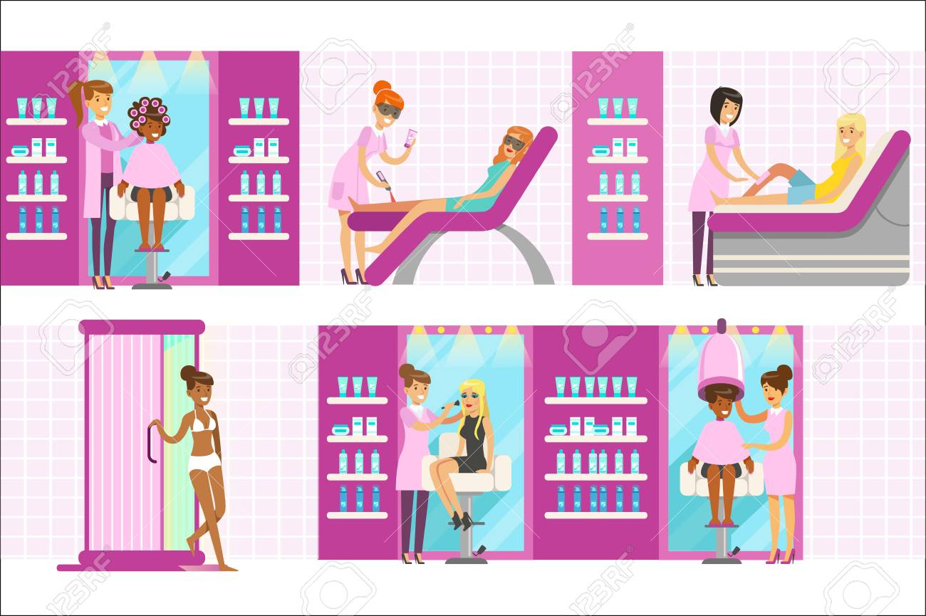 Women In Beauty Salon Enjoying Hair And Skincare Treatments And Royalty Free Cliparts Vectors And Stock Illustration Image 111694162
