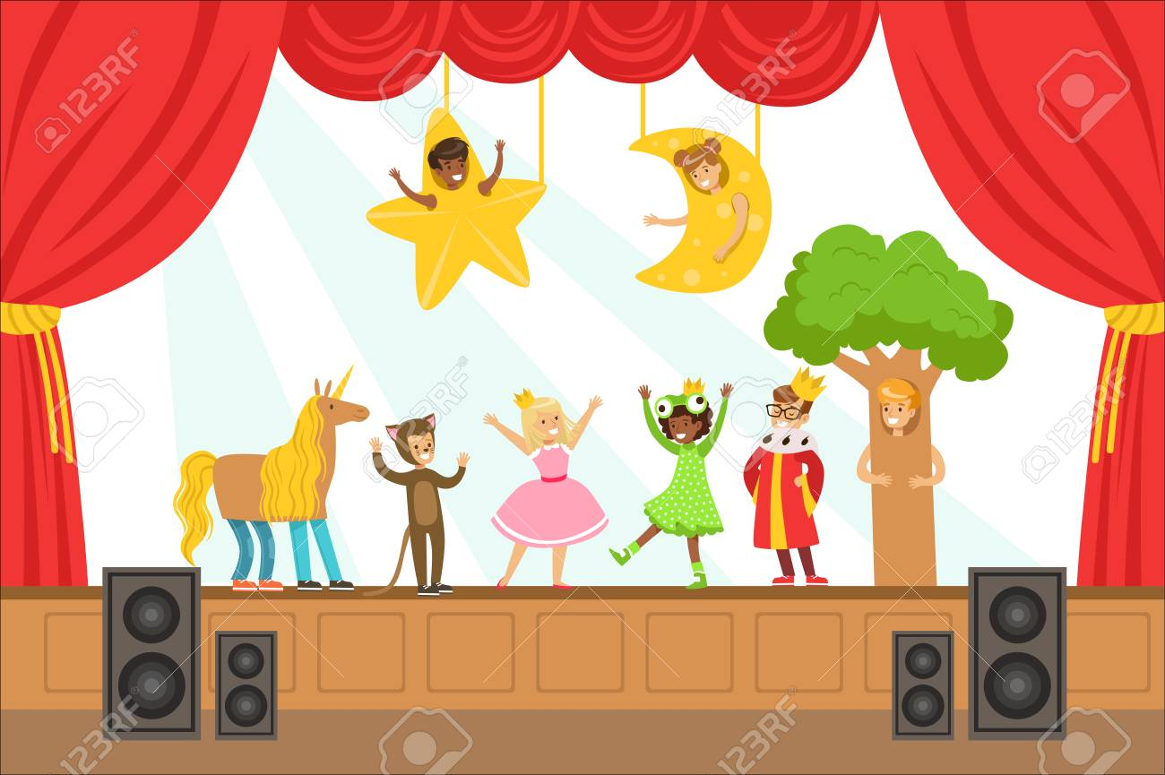 Children Actors Performing Fairy-Tale On Stage On Talent Show Colorful Vector Illustration With Talented Schoolkids Theatre Performance. Happy Kids Showing Their Artistic Talents In Show - 111694167