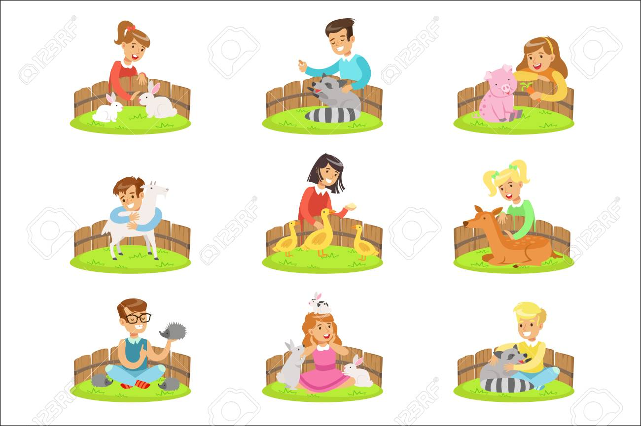 Children Petting The Small Animals In Petting Zoo Set Of Cartoon