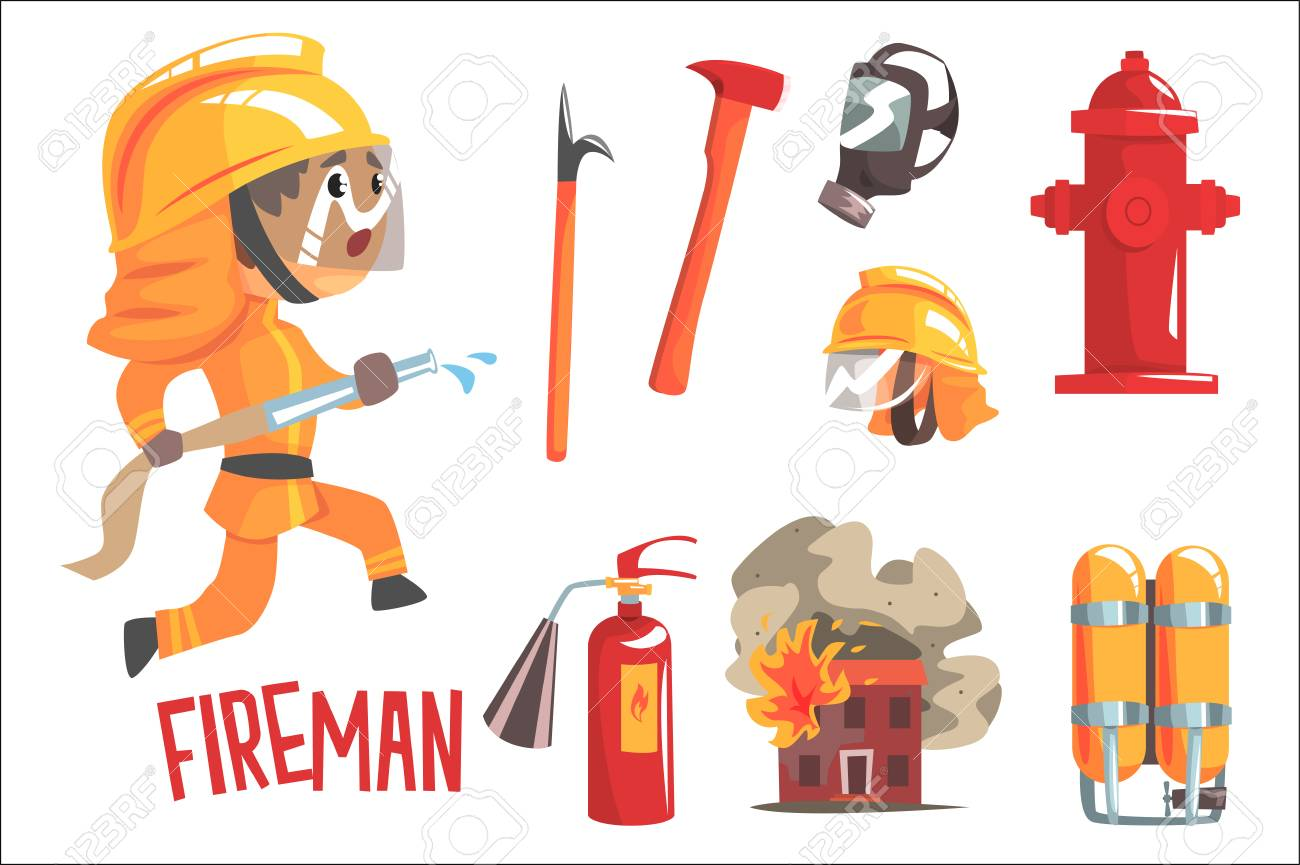 Boy Fireman, Kids Future Dream Fire Fighter Professional Occupation Illustration With Related To Profession Objects. Smiling Child Carton Character With Job Career Attributes Around Cute Vector Drawing. - 111694185