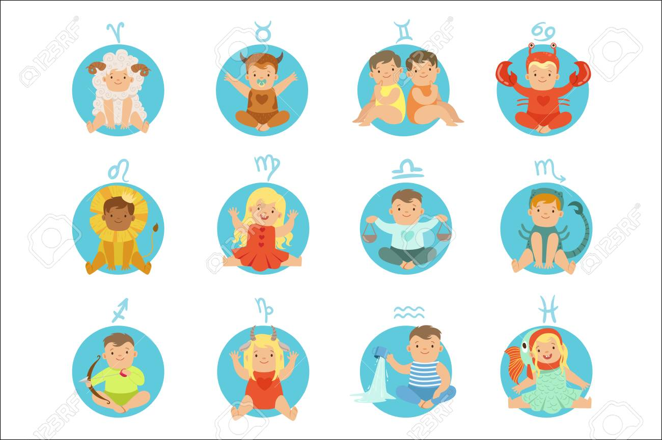 Babies In Twelve Zodiac Signs Costumes Sitting And Smiling Dressed..