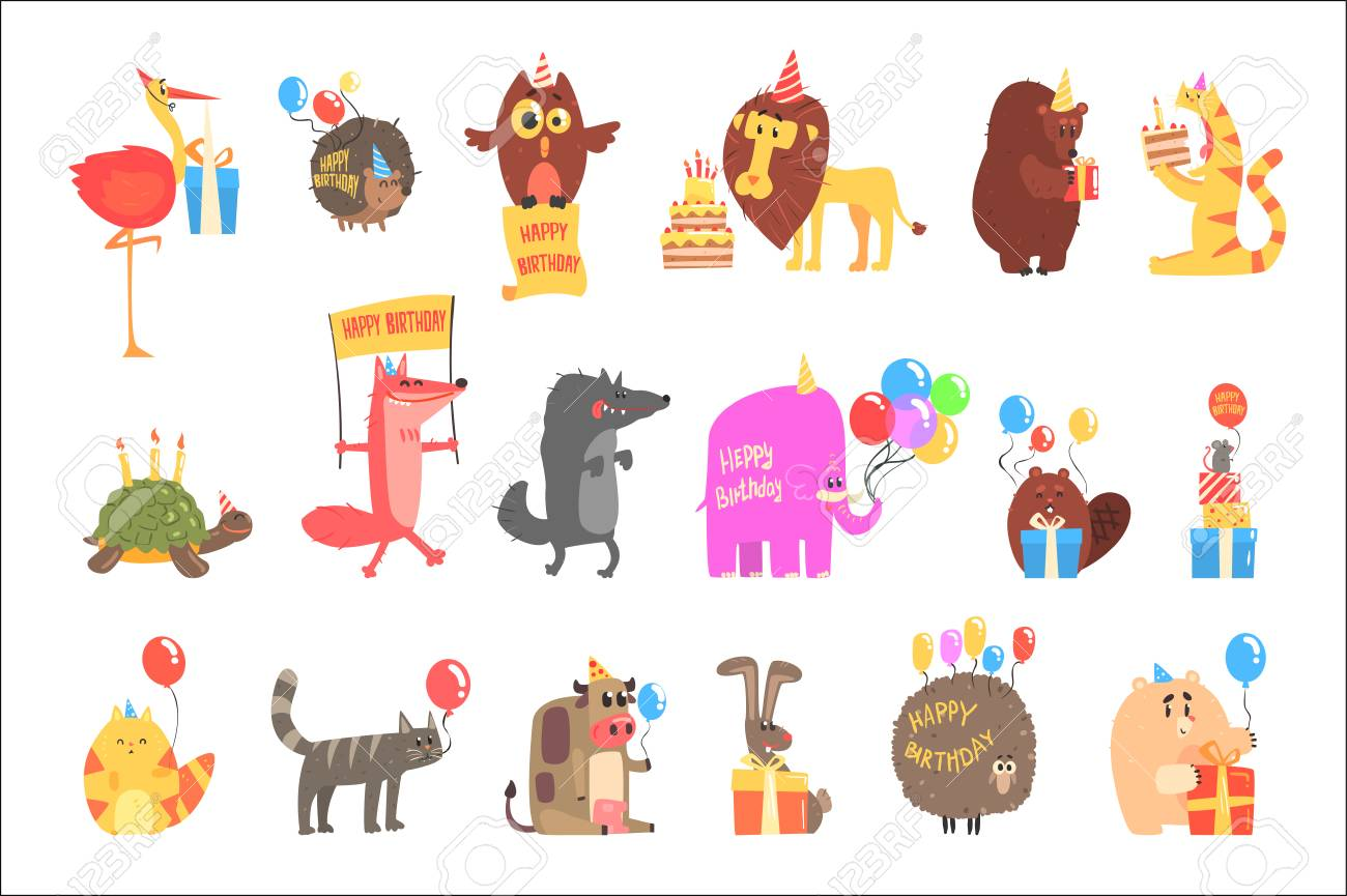 Funky Animals With Party Attributes At The Kids Happy Birthday