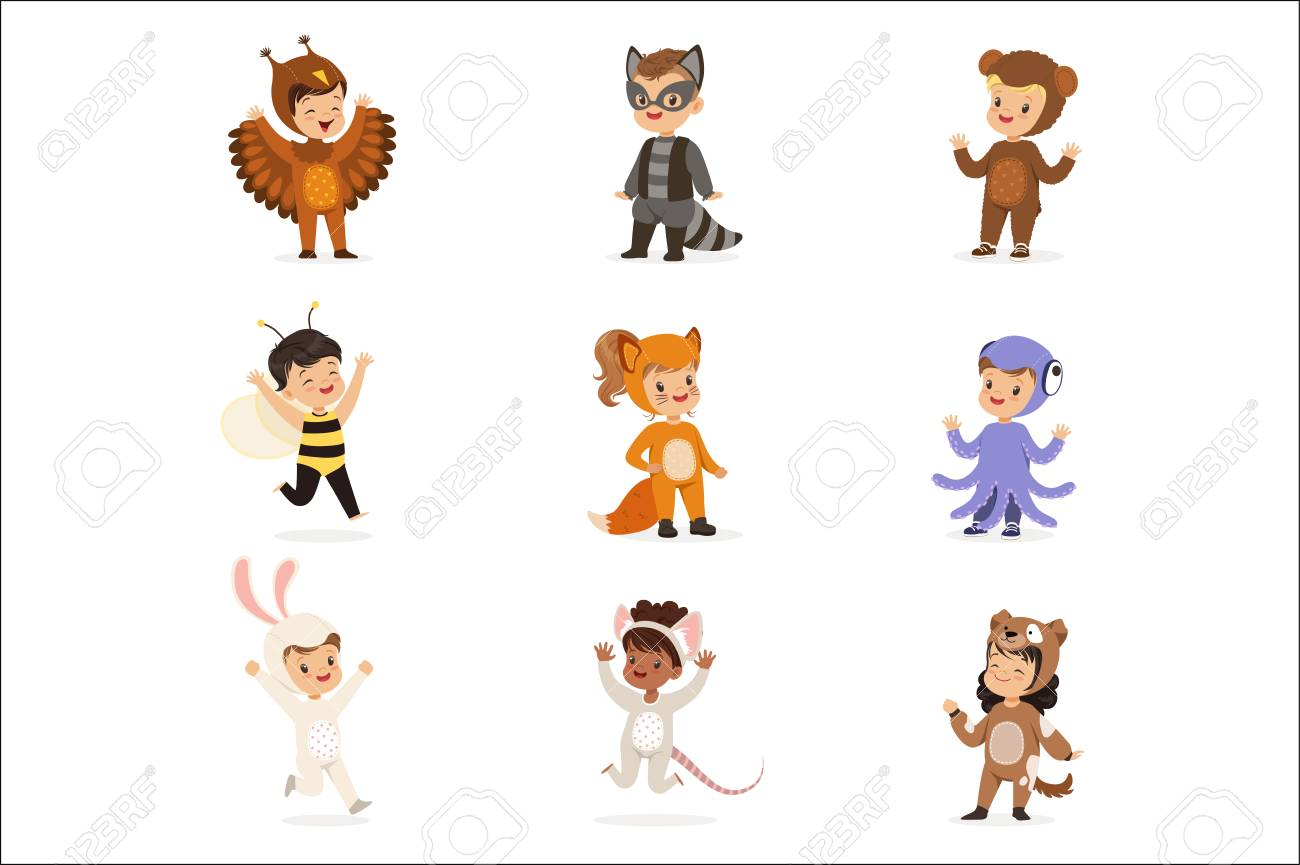 Kinds In Animal Costume Disguise Happy And Ready For Halloween Masquerade Party Set Of Cute Disguised Infants. Smiling Children Dressed As Wildlife And Insects Vector Cartoon Illustrations. - 111655225