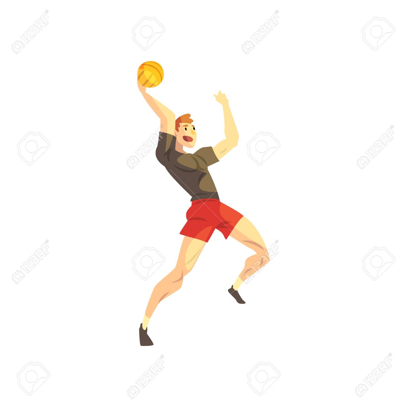 Male basketball player, sportsman character playing with ball, active sport lifestyle vector Illustration isolated on a white background. - 111655231