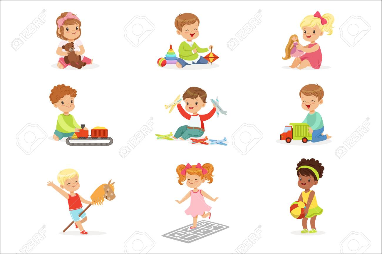 Cute Children Playing With Different Toys And Games Having Fun On Their Own Enjoying Childhood. Young Kids And Infants Game Time Vector Illustrations Set With Adorable Baby Characters. - 111655239