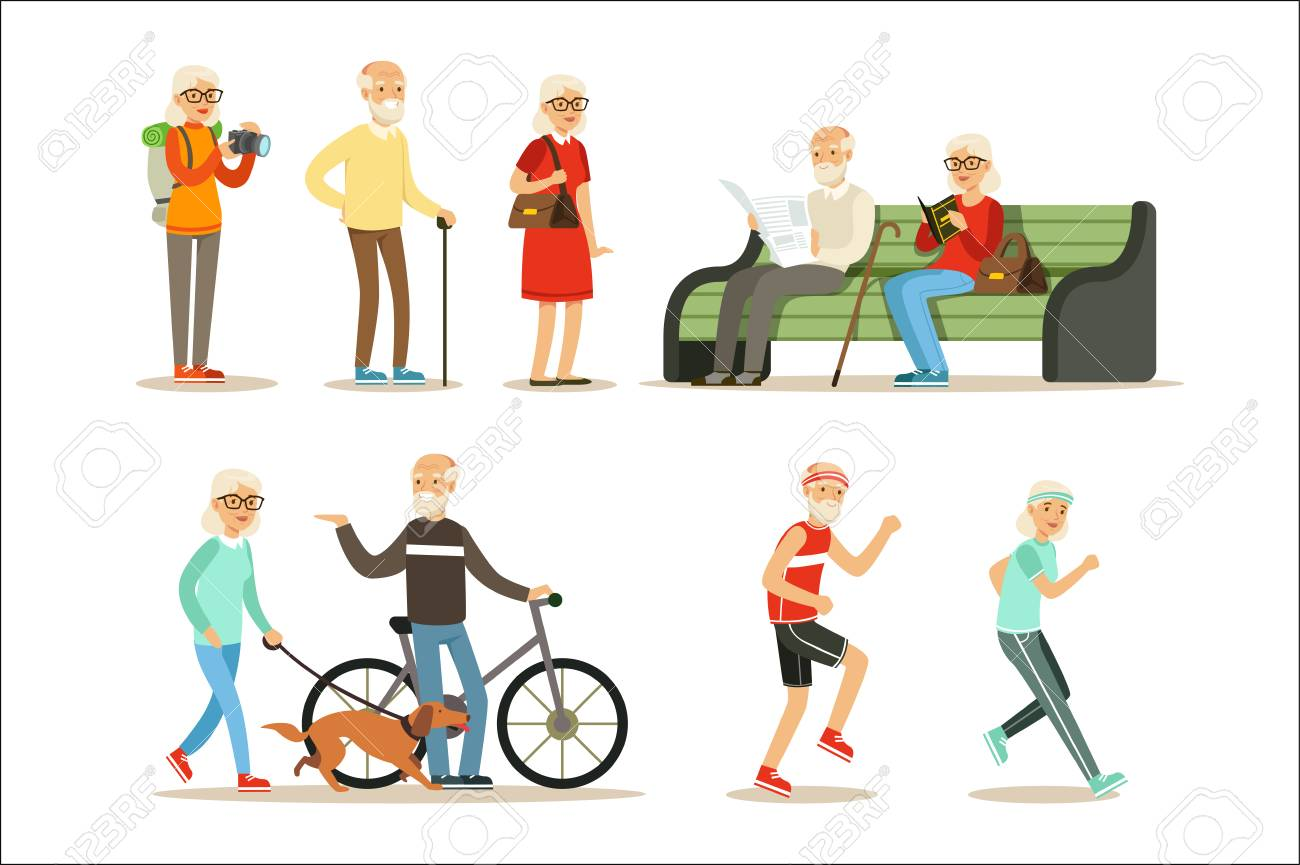 Old People Living Full Live And Enjoying Their Hobbies And Leisure Collection Of Smiling Elderly Cartoon Characters. Happy Grandparents Scenes With Grandpa And Granma Having Fun. - 111655253