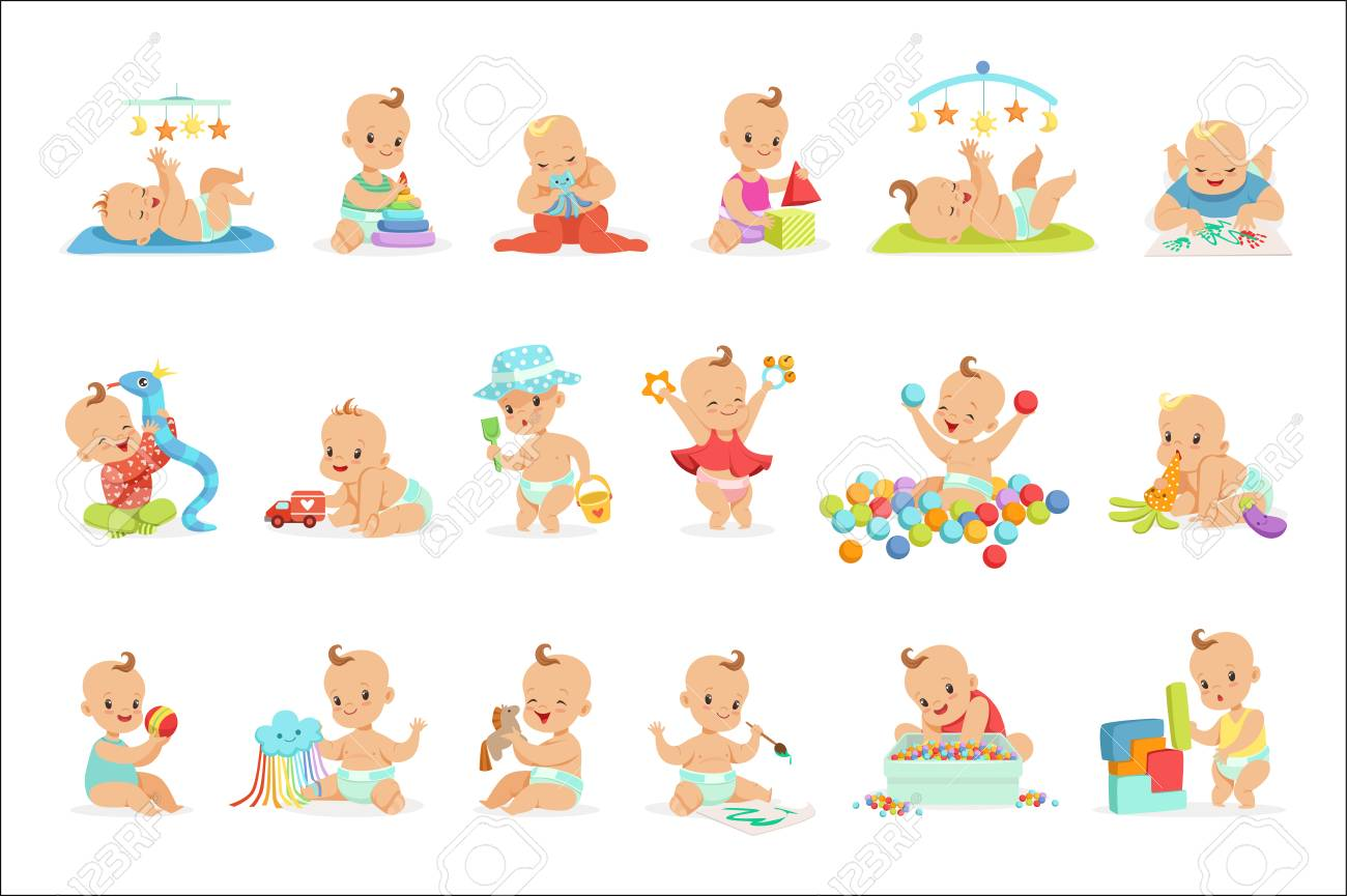 Adorable Girly Cartoon Babies Playing With Their Stuffed Toys And Development Tools Set Of Cute Happy Infants. Sweet Small Kids In Nappies Having Fun And Playing Games Vector Illustrations. - 107084181