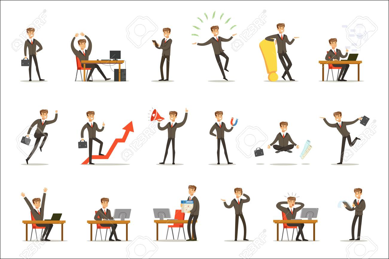 Businessman Work Process Set Of Business Related Scenes With Young Entrepreneur Cartoon Character. Manager In Suit Working In The Office And Out Of It In Finance Vector Illustrations. - 111597622