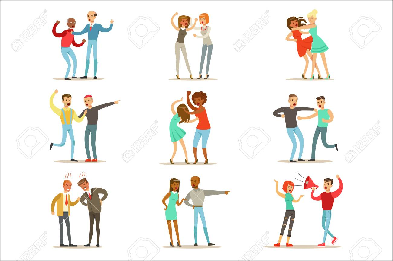 People Fighting And Quarrelling Making A Loud Public Scandal Collection Of Cartoon Characters Aggressive And Violent Behavior Illustrations. Two Person Bicker And Fight Series Of Agression And Negative Emotions Drawings. - 111597675