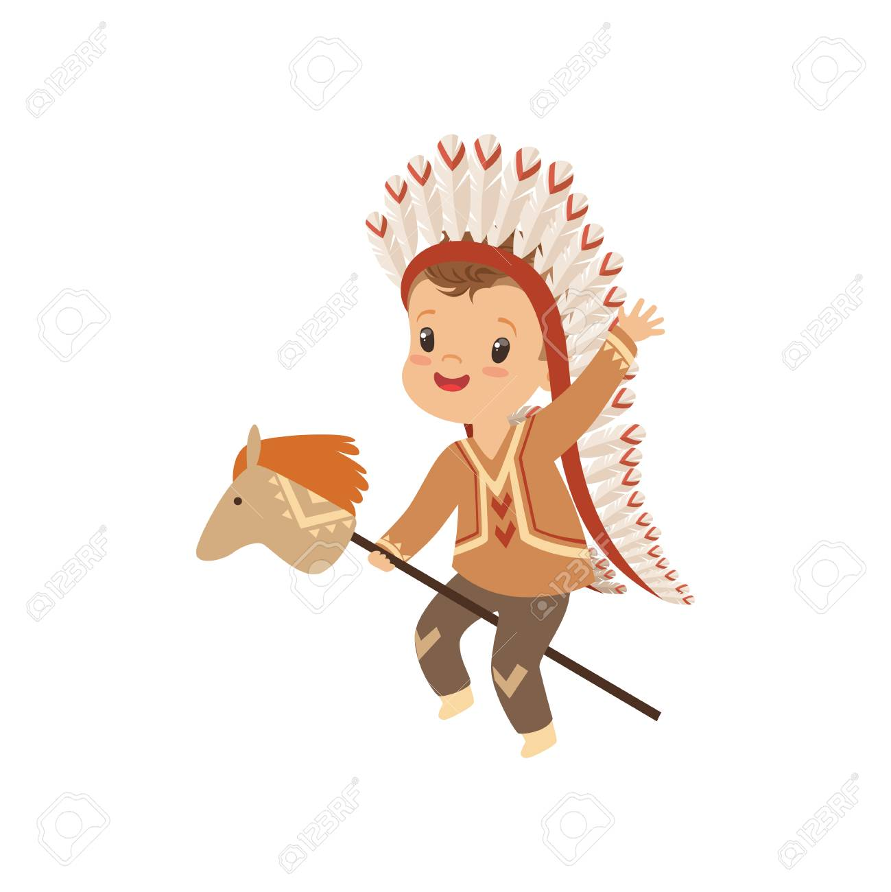 Boy Wearing Native Indian Costume And Headdress Riding Stick Royalty Free Cliparts Vectors And Stock Illustration Image 111564089