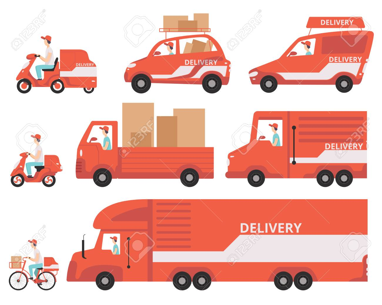 Red delivery vehicles set, express delivery concept vector Illustrations isolated on a white background. - 111535245