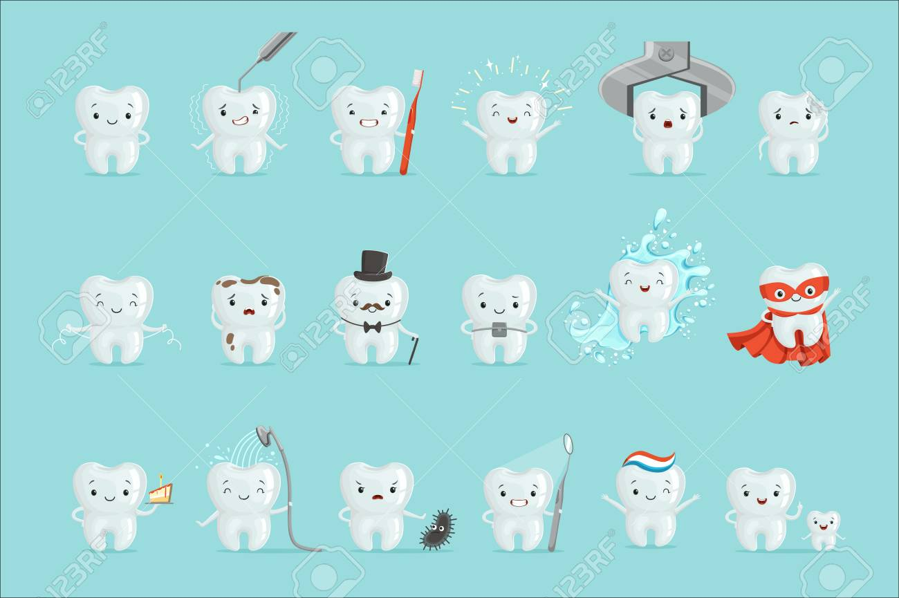 Cute teeth with different emotions set for label design. Dental medicine, children dentistry, mouth hygiene. Cartoon detailed Illustrations isolated on white background - 111535280