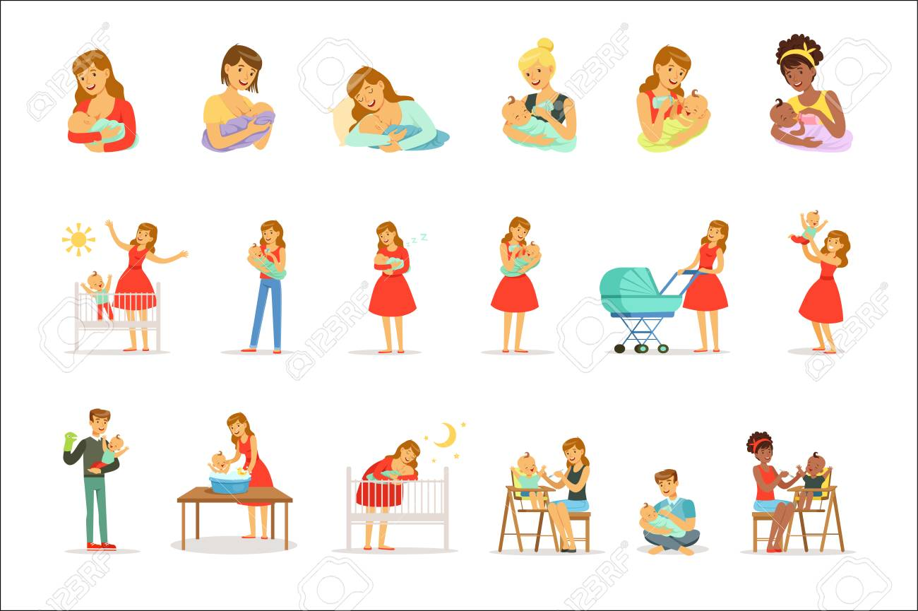 Mom and ad take care of their children set for label design. Happy cheerful family. Colorful cartoon characters isolated on white background - 111535282