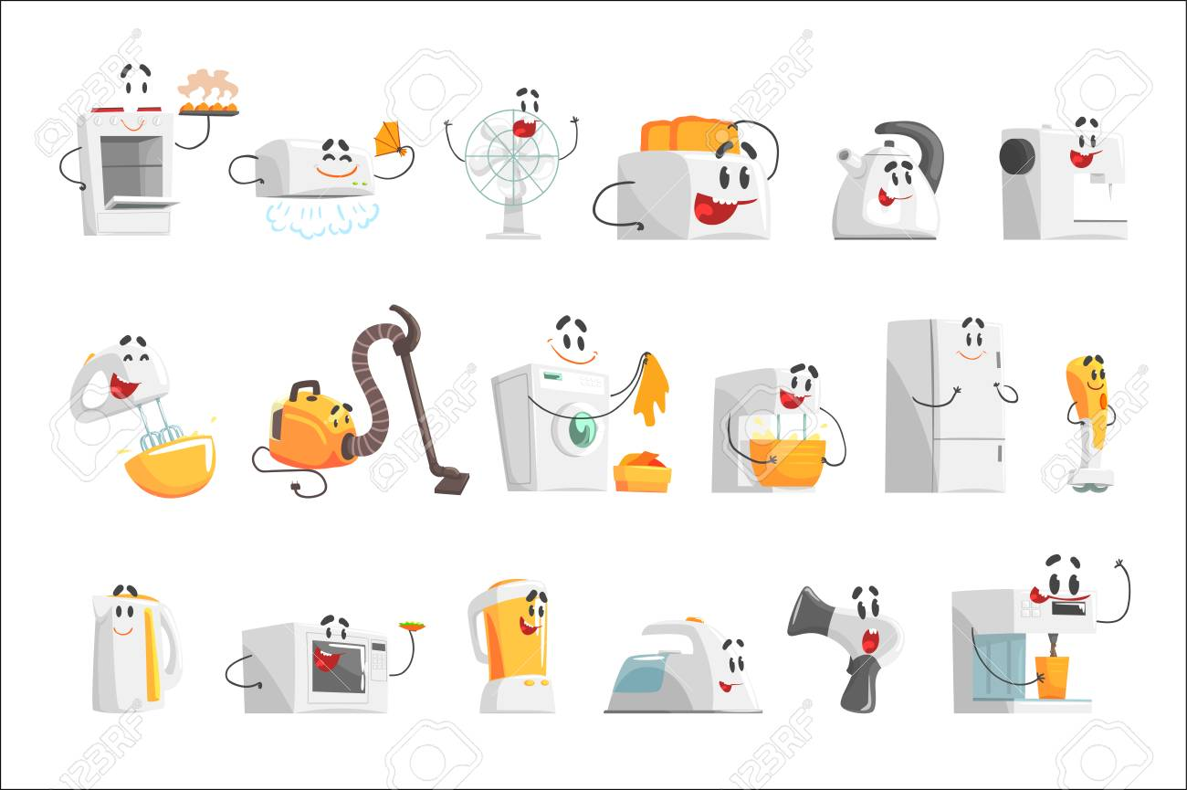 Smiling household appliances set for label design. Home electrical equipment as cartoon characters. Colorful detailed vector Illustrations isolated on white background - 111535284