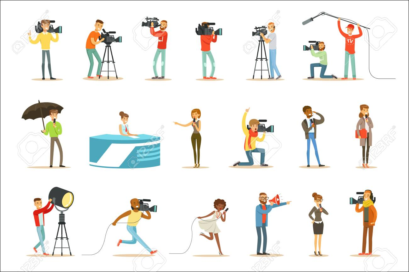 News Program Crew Of Professional Cameramen And Journalists Creating TV Broadcast Of Live Television Set Of Cartoon Characters. People Working In TV Production Shooting Journalistic Materials And Reportages Series Of Vector Scenes. - 111535308