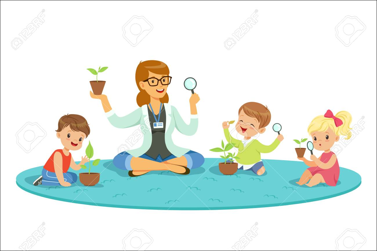 Teacher with kids learning about plants during biology lesson. Preschool environmental education concept. Cartoon detailed colorful Illustrations isolated on white background - 111535322
