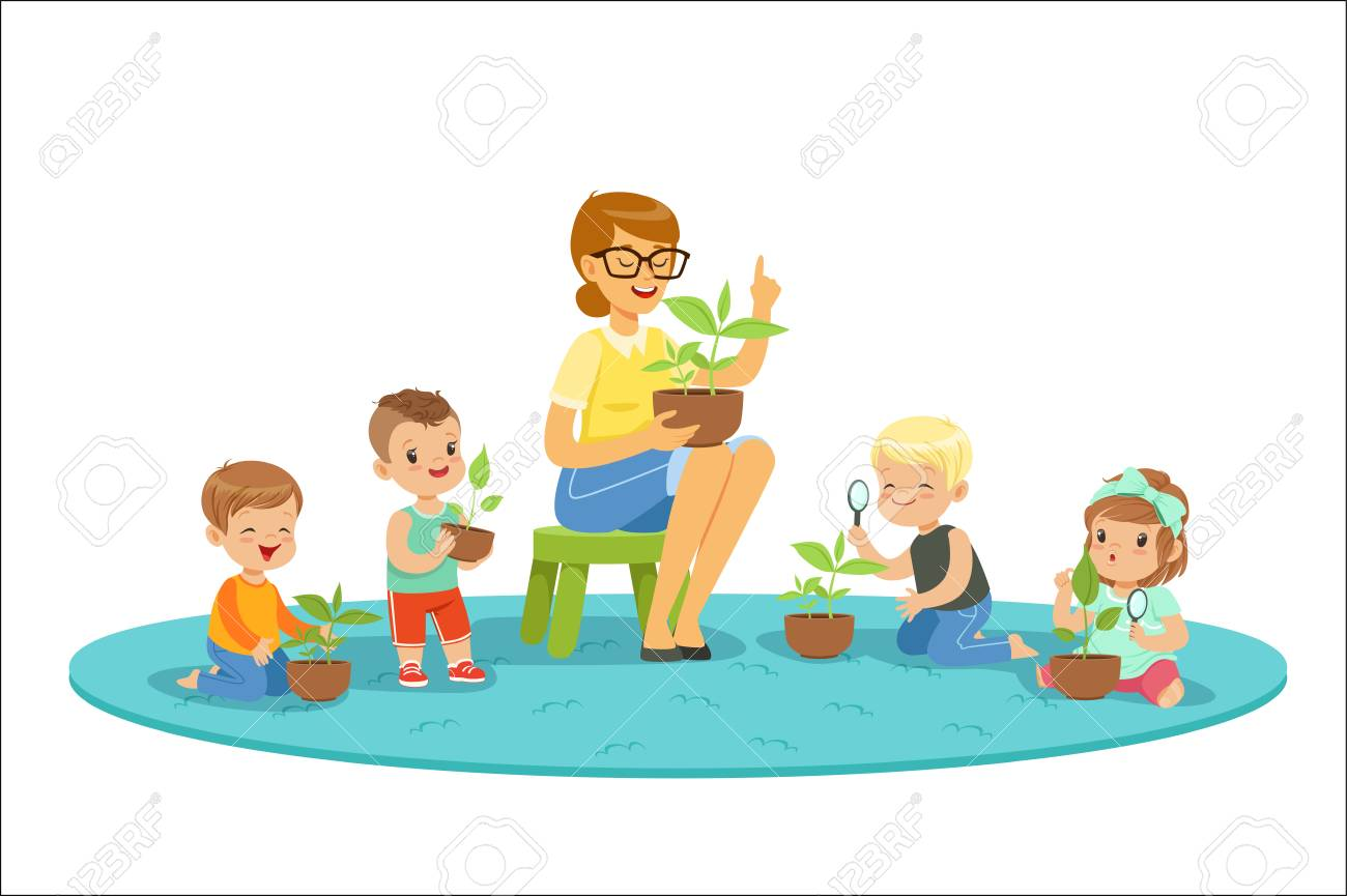 Biology lesson in kindergarten, children looking at plant seedlings. Preschool environmental education concept. Cartoon detailed colorful Illustrations isolated on white background - 111535324