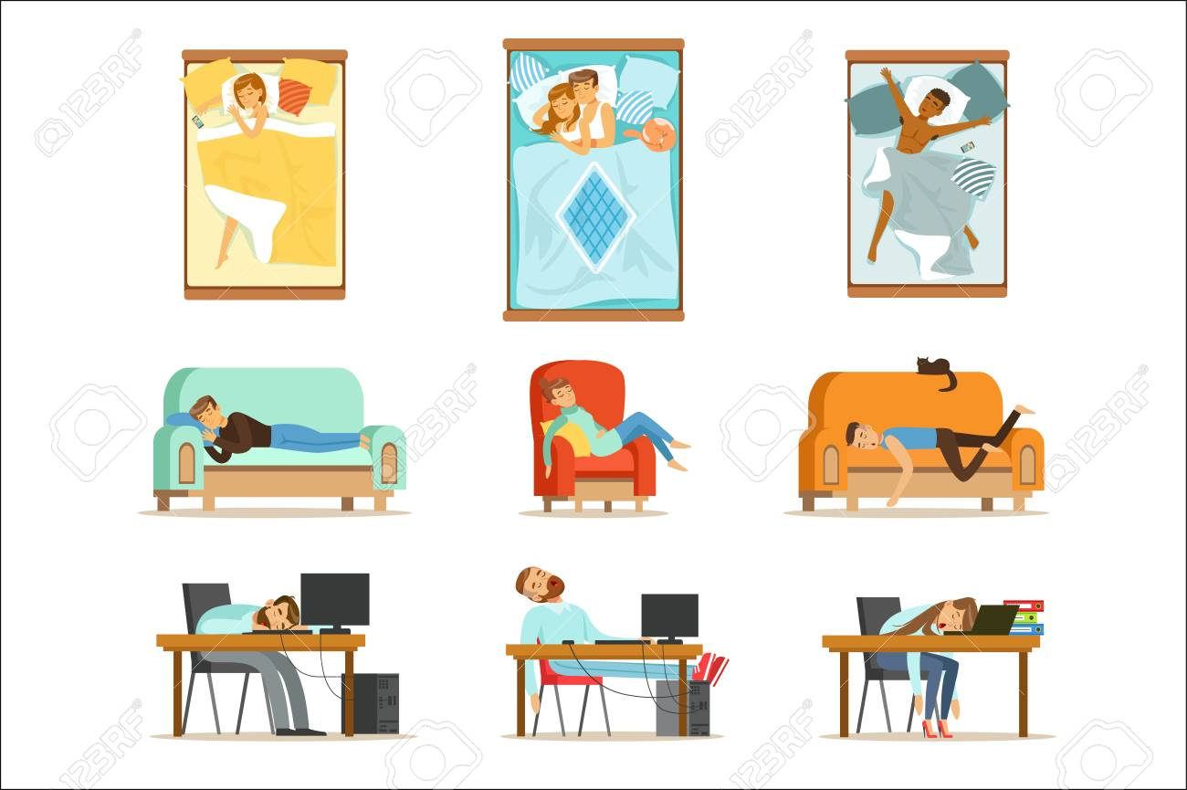 People Sleeping In Different Positions At Home And At Work, Tired Characters Getting To Sleep Set Of Illustrations. Man And Women Taking A Nap Wherever They Can Resting And Feeling Relaxed. - 111535330