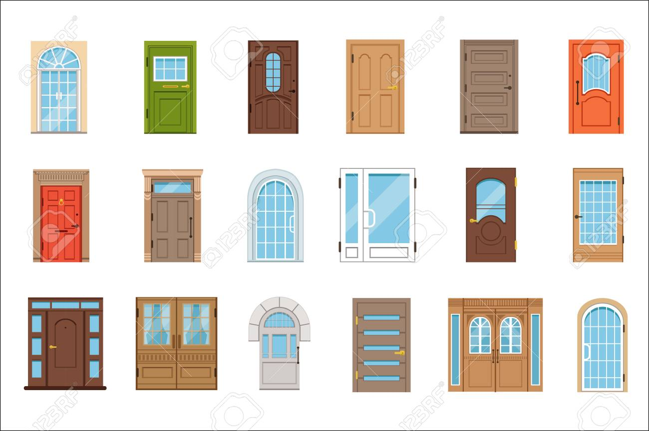 Colorful front doors. Collection of vIntage and modern doors to houses and buildings vector illustrations - 107316823