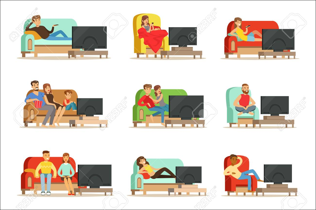 Happy people watching television sitting on the couch at home, colorful Illustrations isolated on white background - 107314834