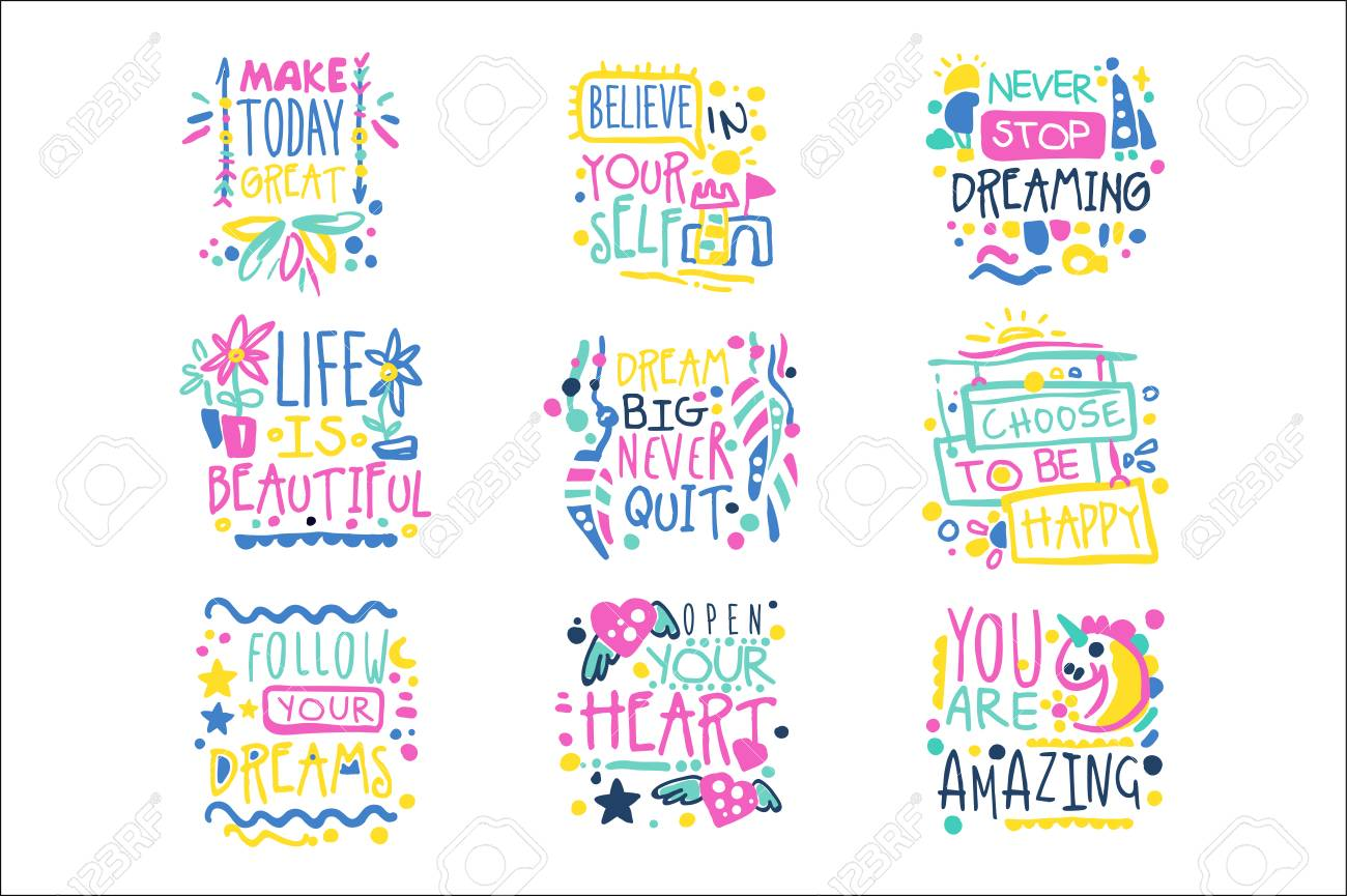 Short Possitive Messages Inspirational Quotes Colorful Hand