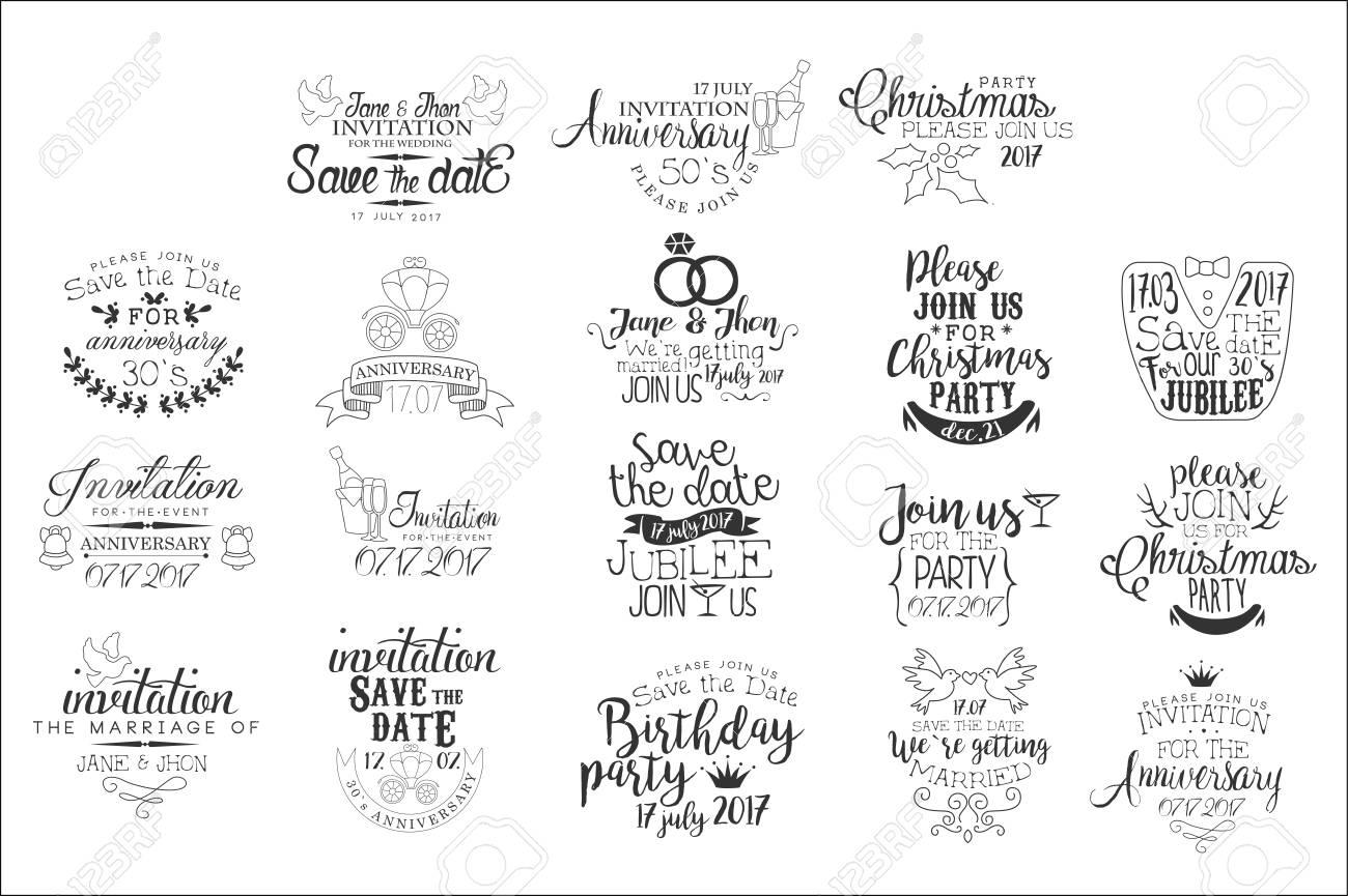 Special Event Hand Drawn Invitation Set Of Artistic Decorative Vector Design Writing - 110513956