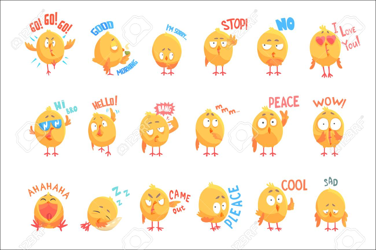 Cute cartoon chickens characters with different emotions and phrases set of vector Illustrations isolated on white background - 107348897