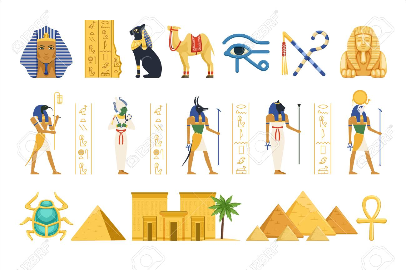 Egypt set, Egyptian ancient symbols of the power of pharaohs and gods colorful vector Illustrations on a white background - 110354251