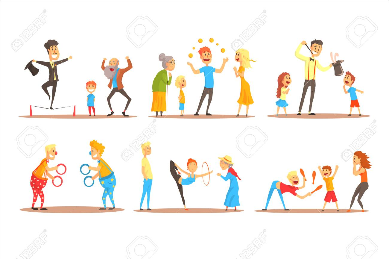 Young man character juggling with orange balls before happy people. Circus or street actor colorful cartoon detailed vector Illustration on a white background - 110354256