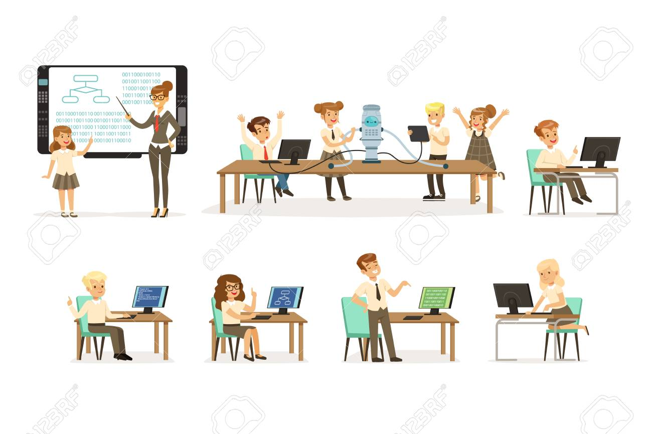 School children at the informatics and programming lesson set, teacher giving lesson in classroom, kids working on computers, learning robotics and programming vector Illustrations on a white background - 110332115