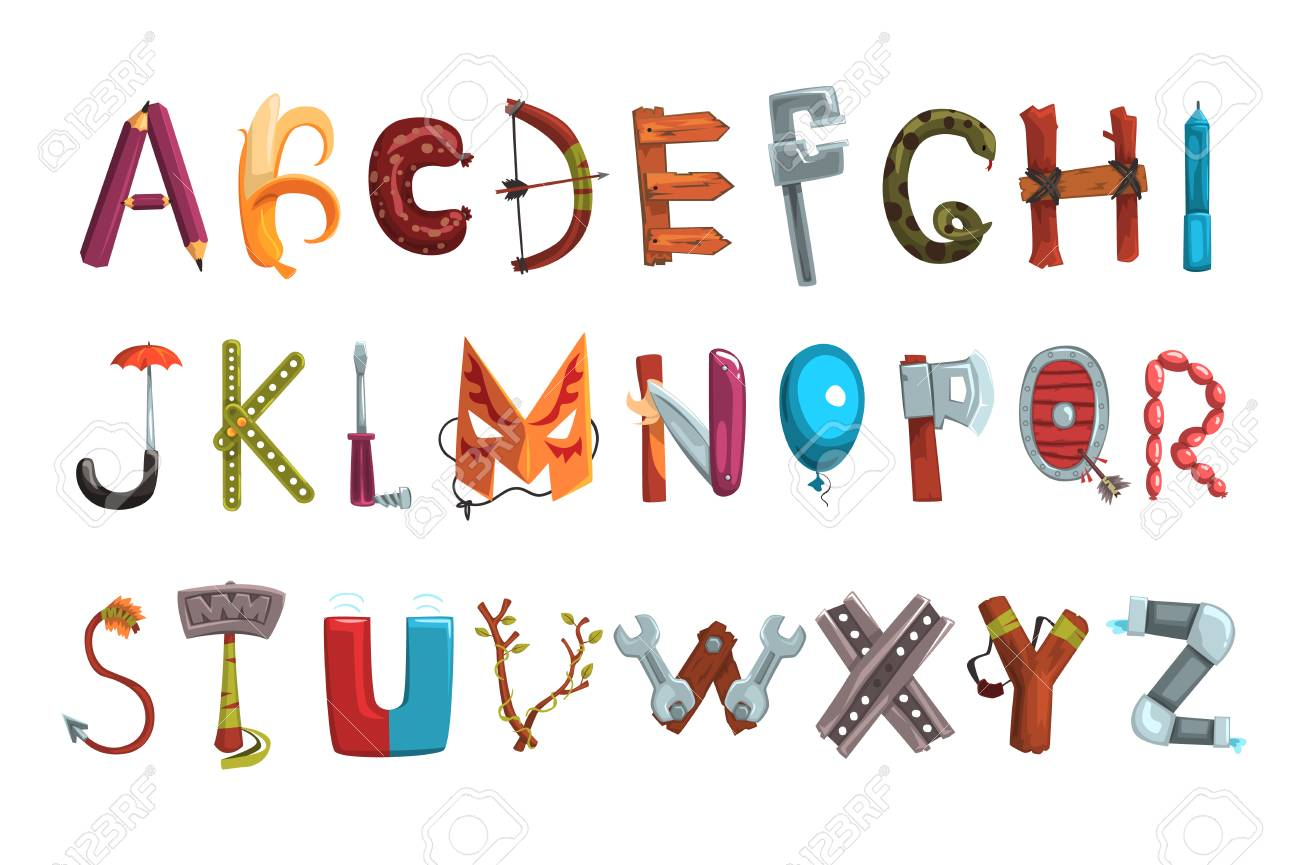 Collection Of Letters Made Of Various Objects, Food And Tools