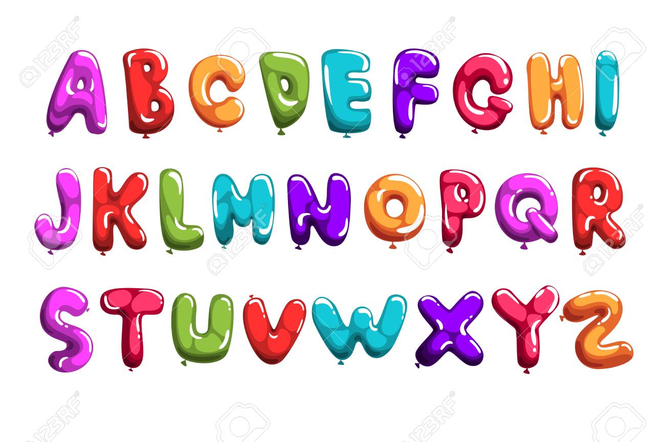 Set of colorful font in balloons form. Children s English alphabet. Letters from A to Z. ABC elements. Education and development. Isolated flat vector design for print, poster, invitation, card, flyer - 107745402