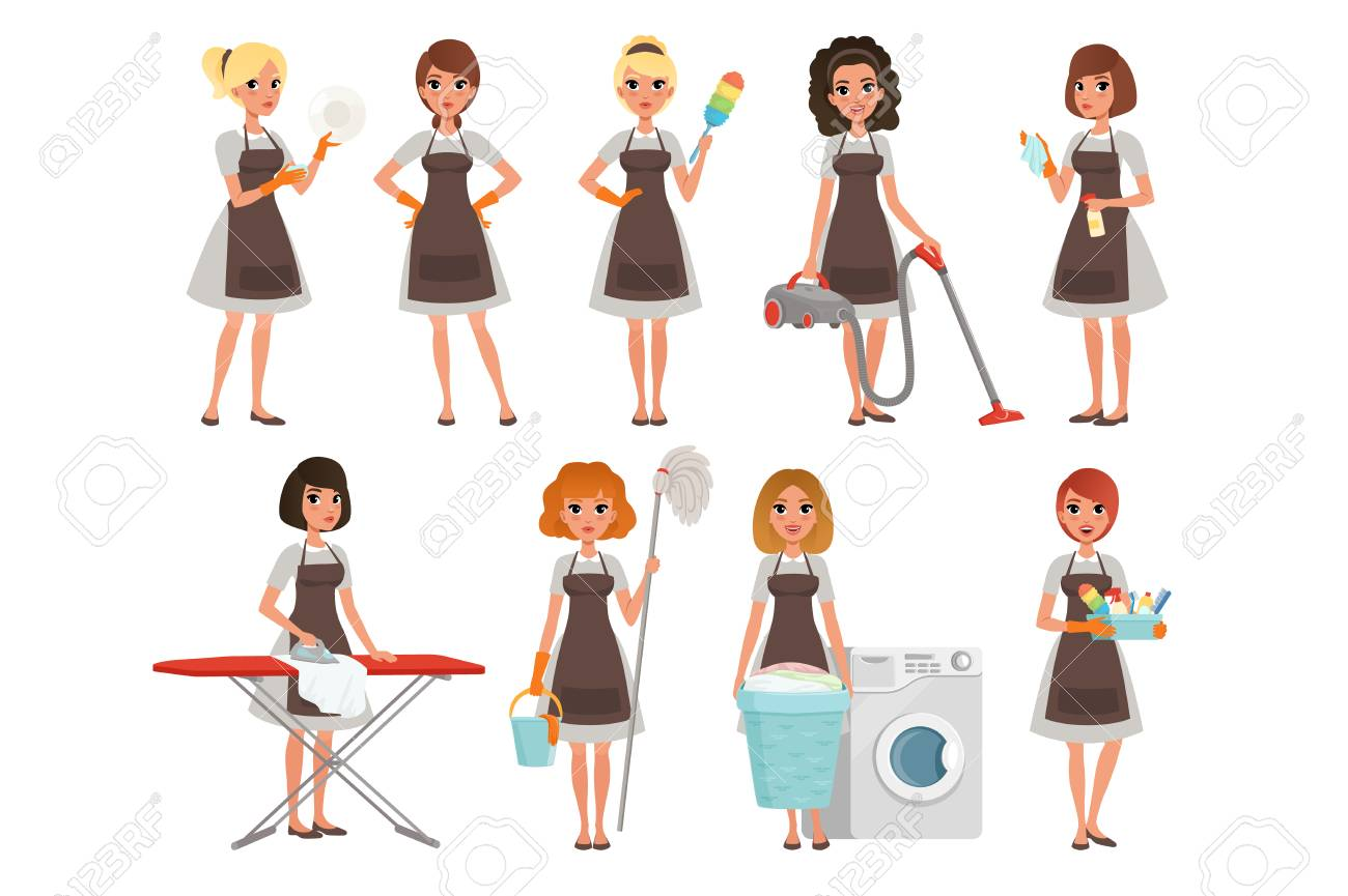 Set of housewives with different equipment. Housekeeper. Cleaning service. Pretty women wearing gray dresses and brown aprons. Cartoon young girls. Flat vector design - 107895813