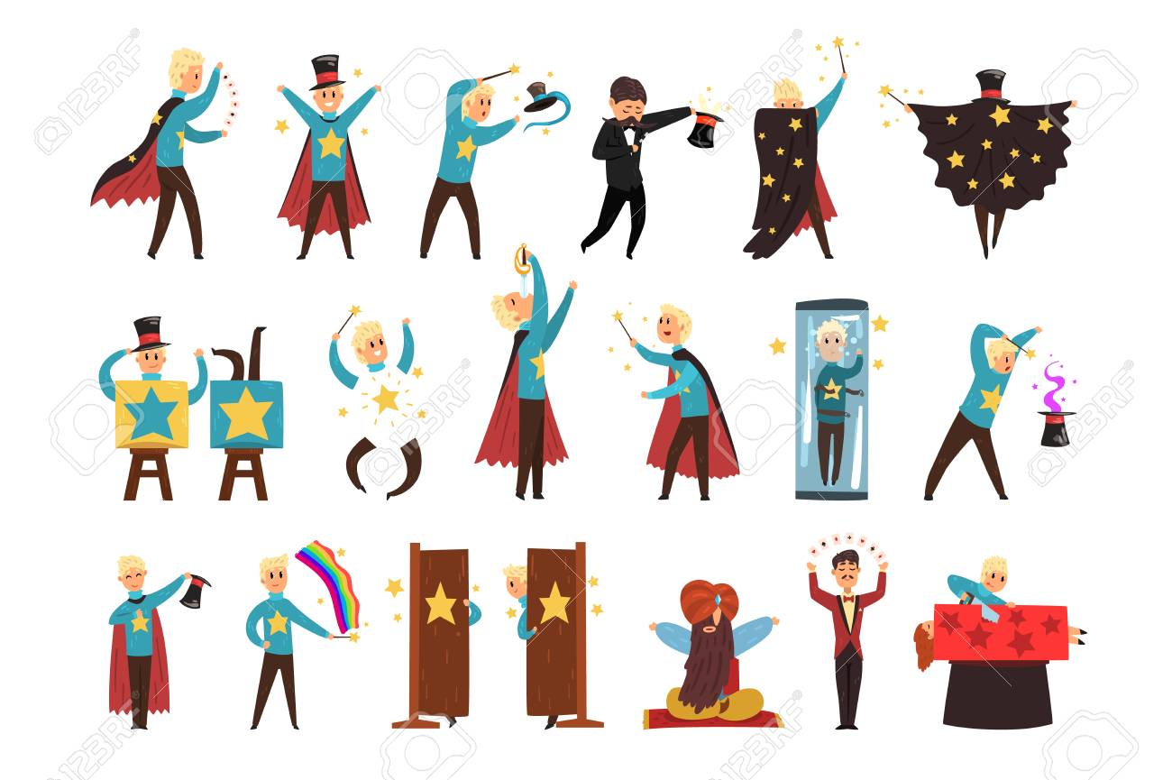Magician showing tricks and focuses set of vector Illustrations isolated on a white background. - 110240328