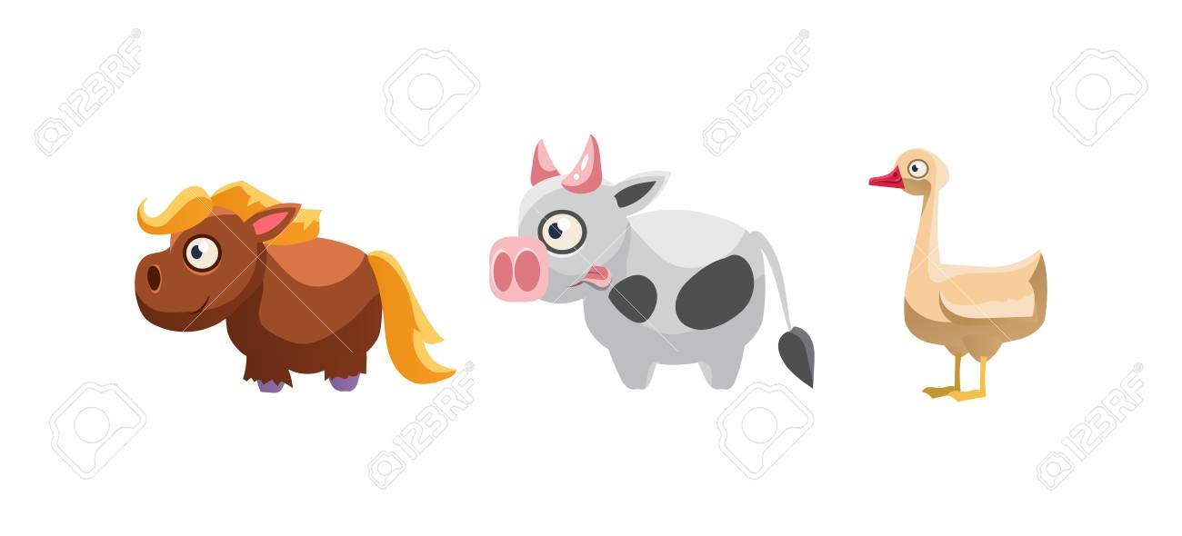 Horse, cow and goose, funny cartoon farm animals, game user interface,