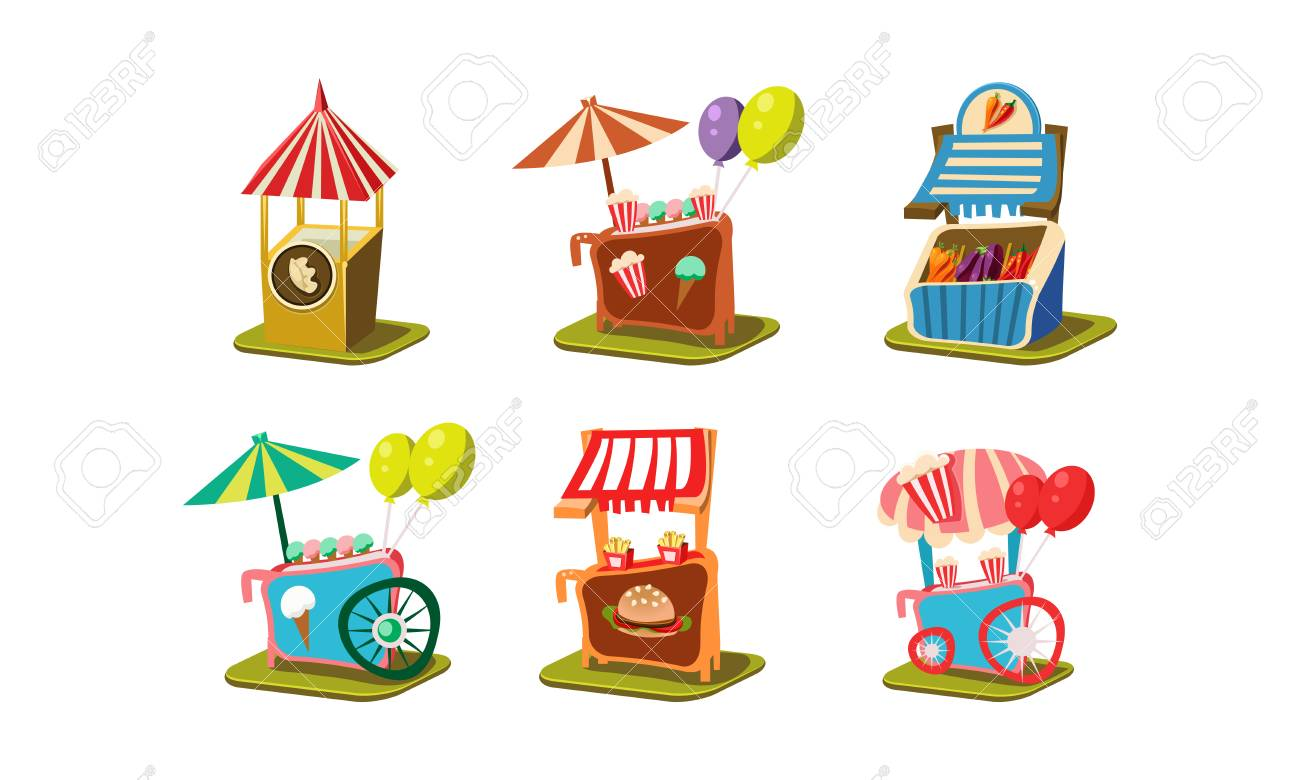 Set of carts with ice-cream and popcorn, stalls with vegetables