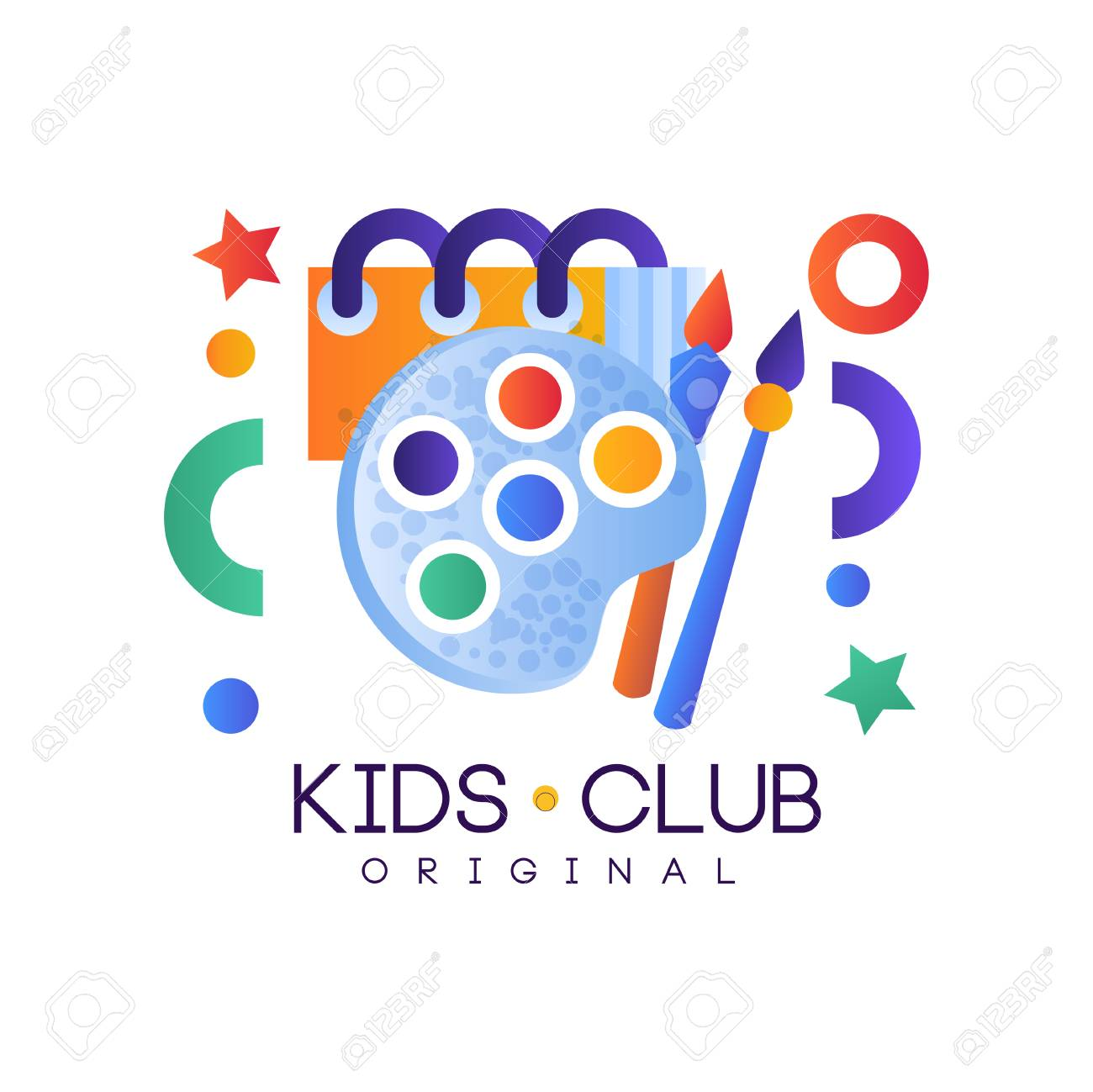 Kids Club Colorful Creative Label Template Playground