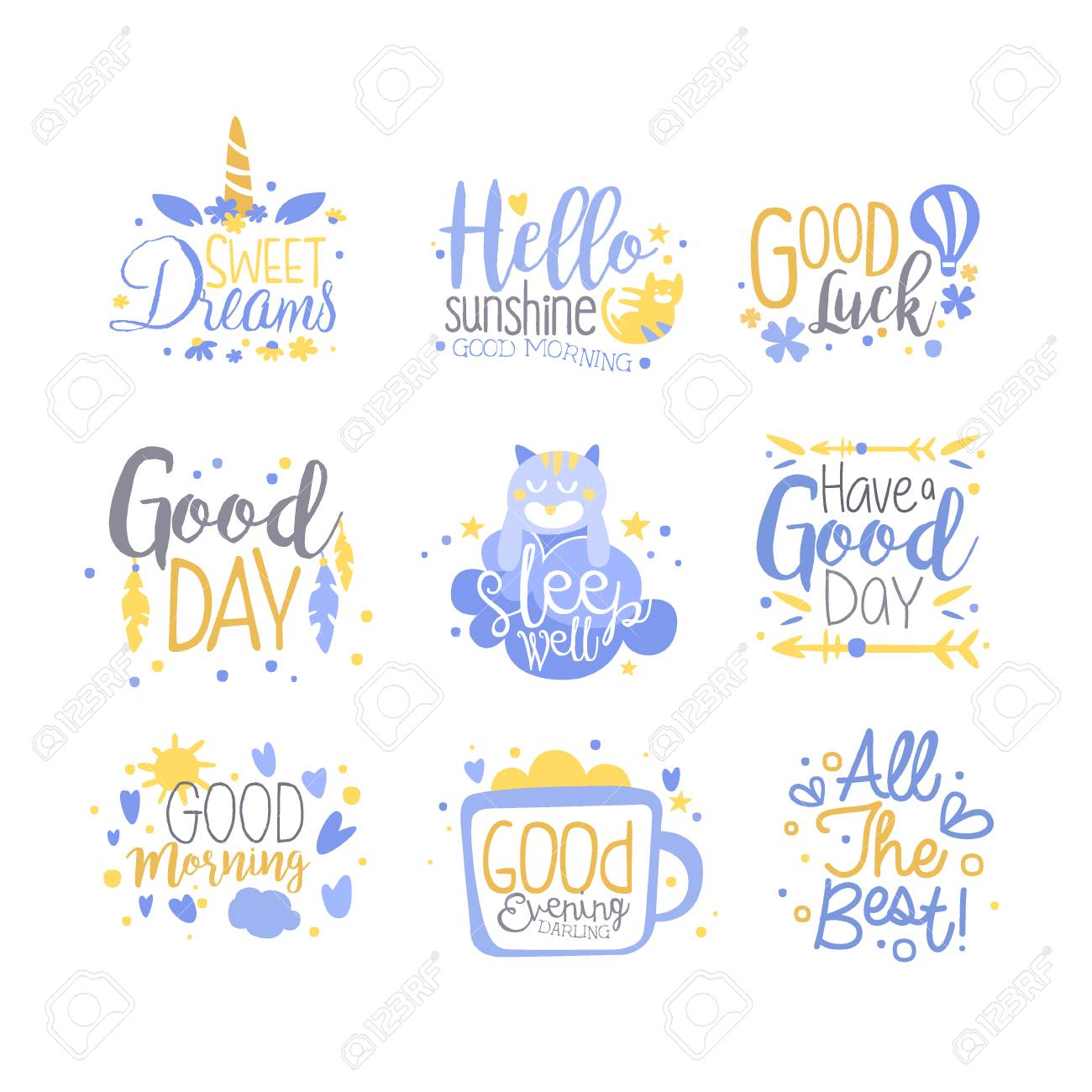 positive citater og slogans Positive Quotes Set, Hand Wriiten Lettering Motivational Slogans  positive citater og slogans
