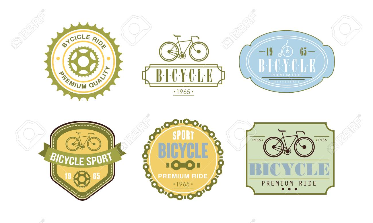 Retro bicycle sport set, badge can be used for bike or repair