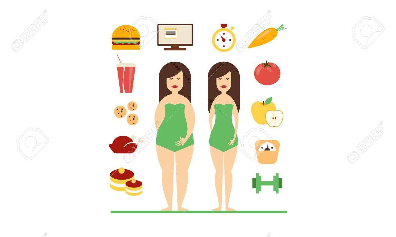 Fat and slim female figures, fast food and healthy eating, bad habits and healthy lifestyle vector Illustration isolated on a white background. - 128162543