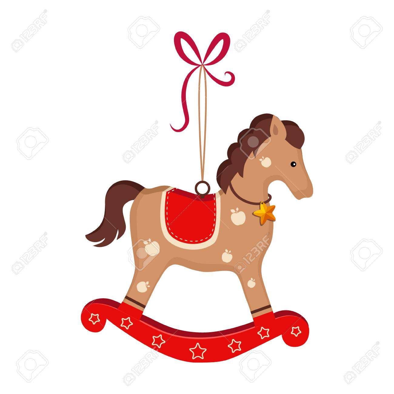 Christmas Toy Rocking Horse Greeting Card With Text Vector Royalty Free Cliparts Vectors And Stock Illustration Image 128162863