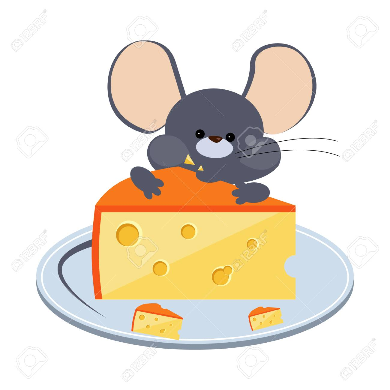 Little Gray Mouse Chewing Cheese on a Plate. Bright Vector Illustration - 110717834