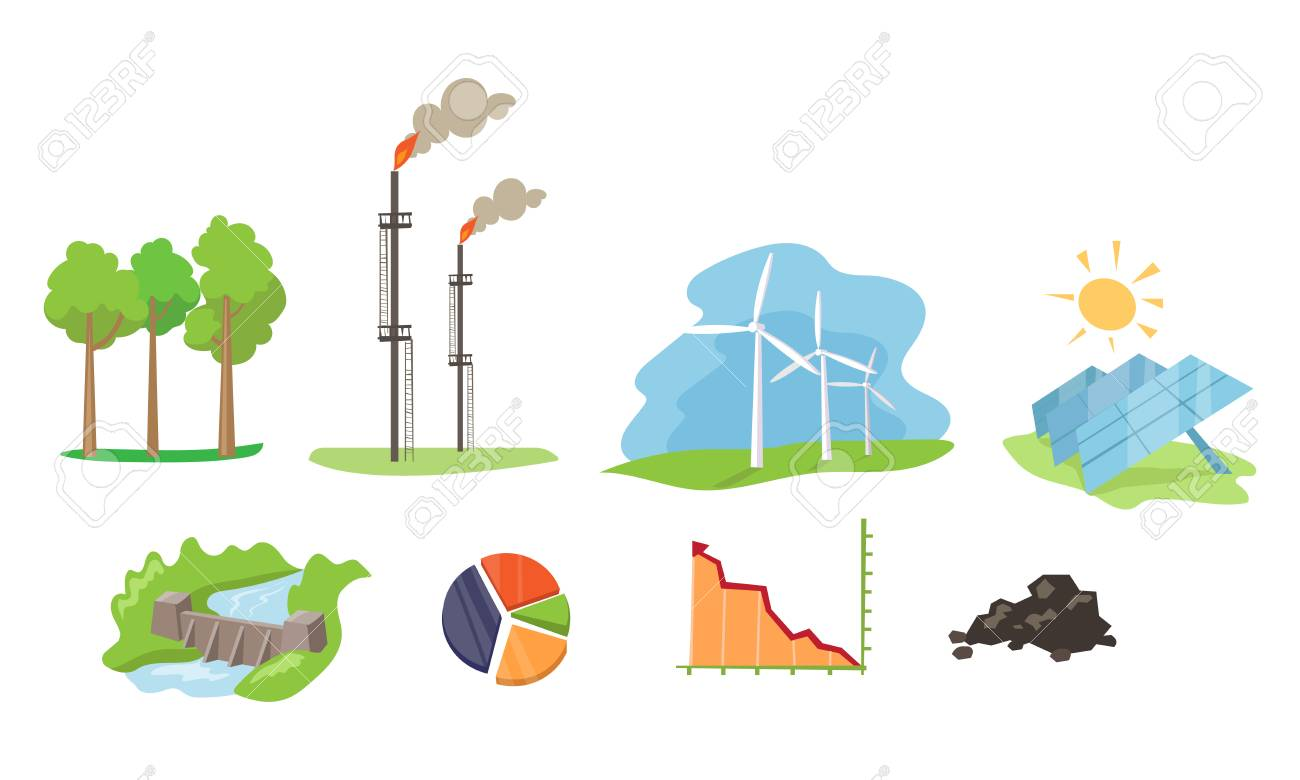Electricity and energy sources set, wind, hydro, solar power generation facilities vector Illustration on a white background - 110931201