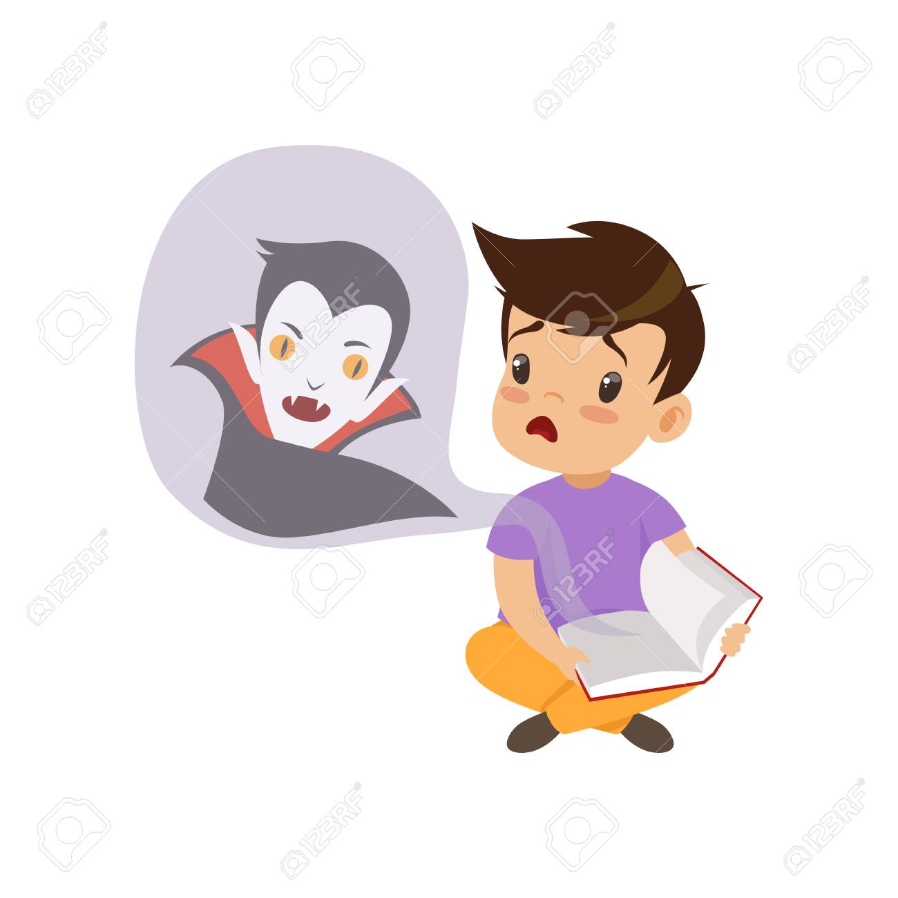 Cute little boy reading a scary book about vampires, kids fabulous imagination concept vector Illustration isolated on a white background. - 128163048