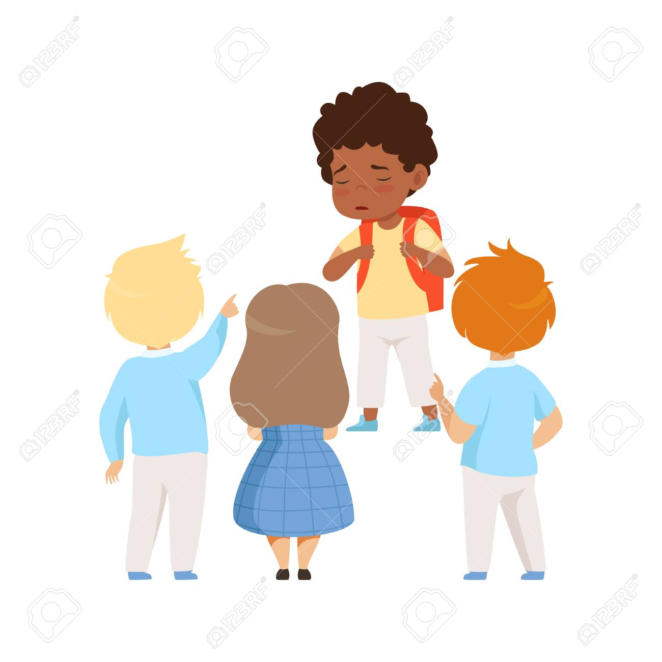 Kids mocking an african ameican boy, bad behavior, conflict between kids, mockery and bullying at school vector Illustration isolated on a white background. - 128163053